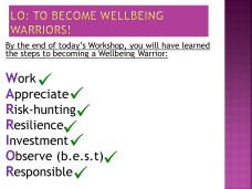 Wellbeing Warriors LOs updated